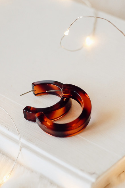 Tortoise - Acrylic Hoop Earrings