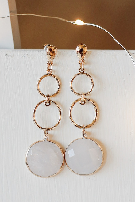 White - Gold Statement Drop Earrings from Dress Up