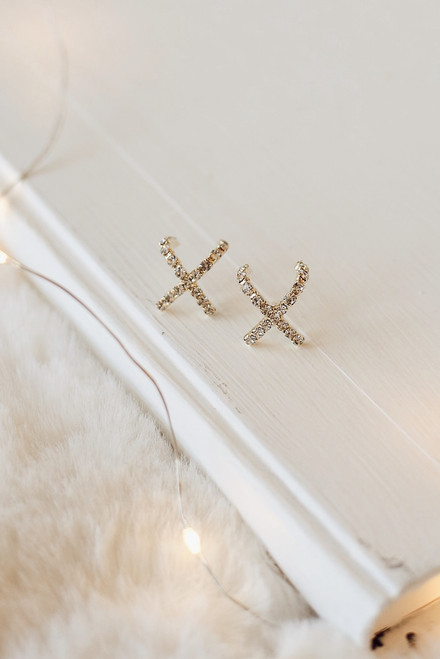 Gold - Rhinestone 'X' Earrings from Dress Up