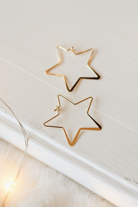 Gold - Star Hoop Earrings