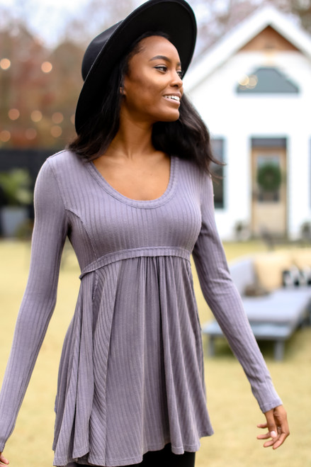 Charcoal - Ribbed Knit Tunic