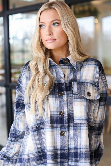 Navy - Oversized Flannel Shirt Jacket from Dress Up
