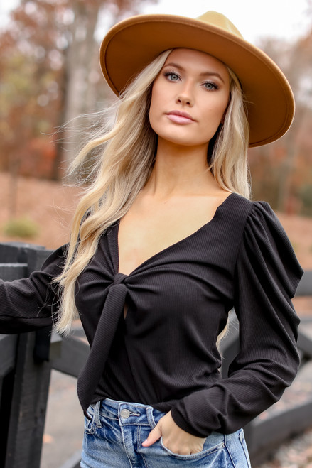 Black - Puff Sleeve Tie-Front Top