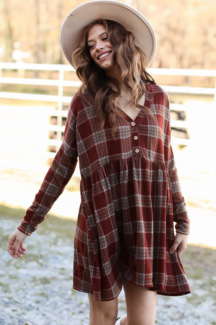 Burgundy - Plaid Babydoll Dress from Dress Up