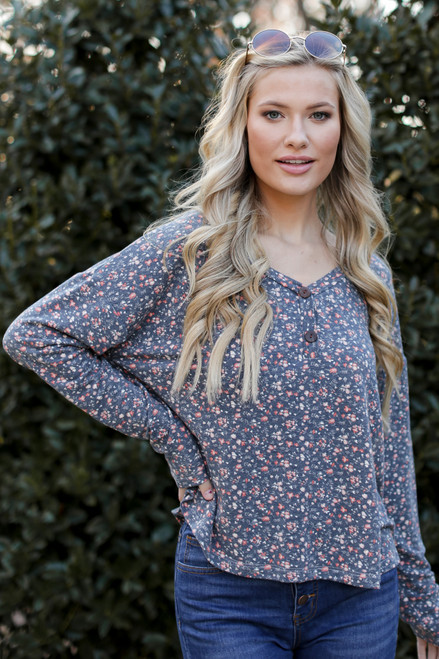Denim - Model wearing a Floral Button Front Top