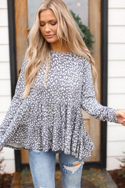 Grey - Leopard Tiered Babydoll Top