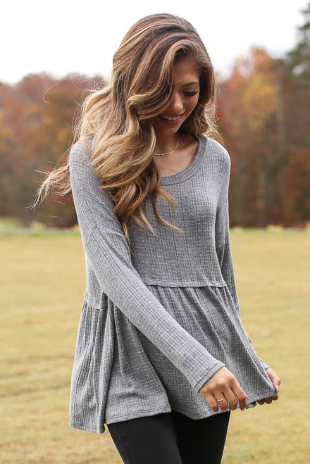 Charcoal - Brushed Knit Babydoll Top from Dress Up