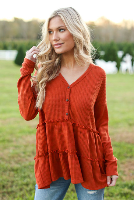 Rust - Waffle Knit Tiered Babydoll Top