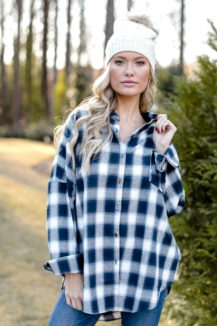 Navy - Oversized Flannel