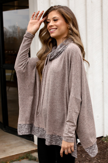 Mocha - Side view of oversized knit top