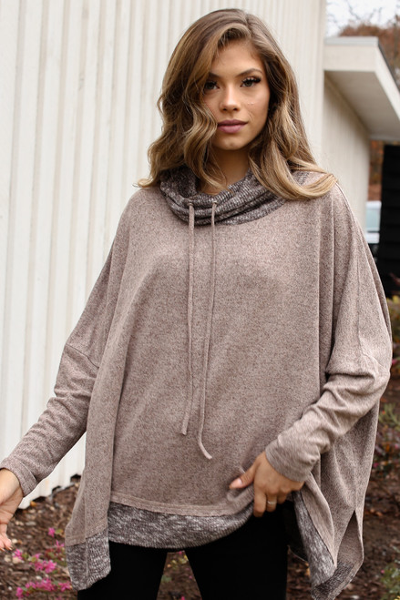 Mocha - Oversized Brushed Knit Sweater from Dress Up