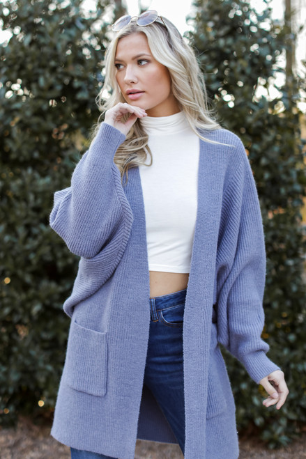 Blue - Model wearing an Oversized Sweater Cardigan