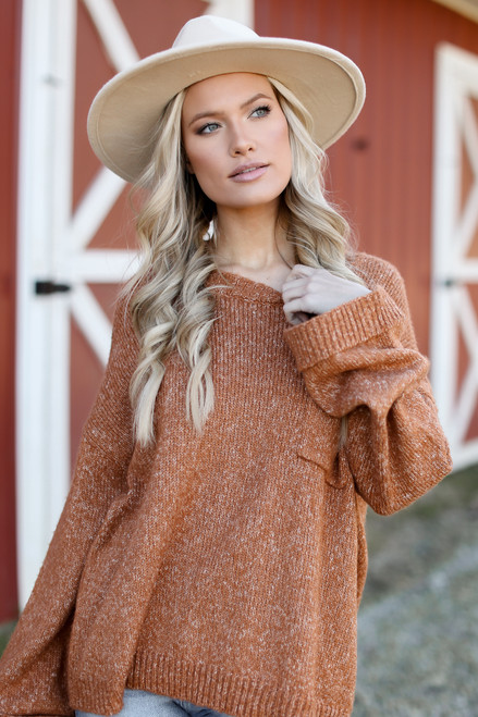 Camel - Oversized Front Pocket Sweater from Dress Up