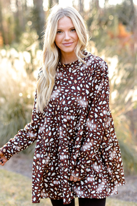 Brown - Leopard Tiered Babydoll Tunic