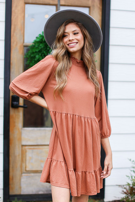 Rust - Mock Neck Babydoll Dress