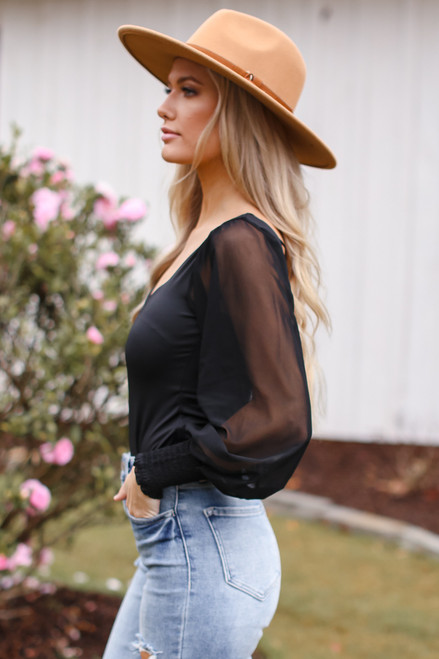 Black - Mesh Sleeve Bodysuit from Dress Up