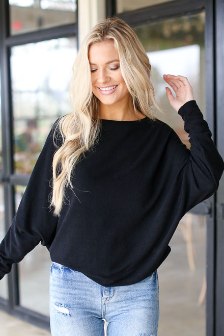 Black - Oversized Knit Top