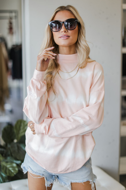 Peach - Dress Up model wearing an Oversized Tie-Dye Pullover