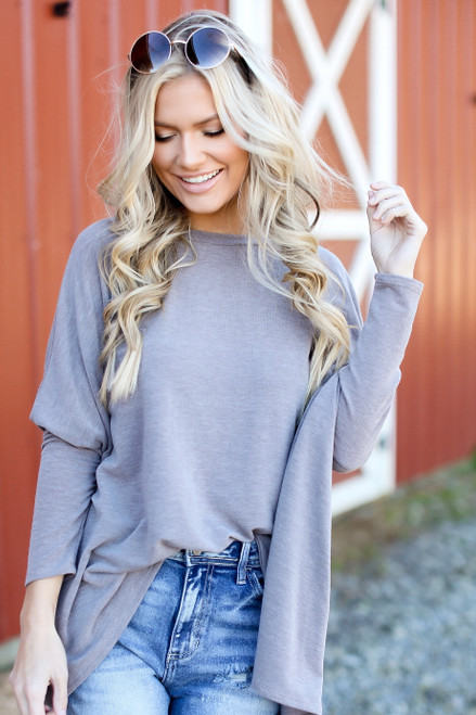 Mocha - Dress Up model wearing an Oversized Knit Top with jeans