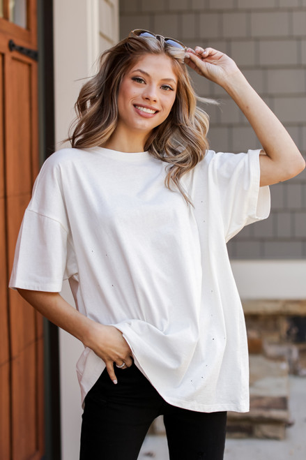 White - Distressed Boyfriend Tee