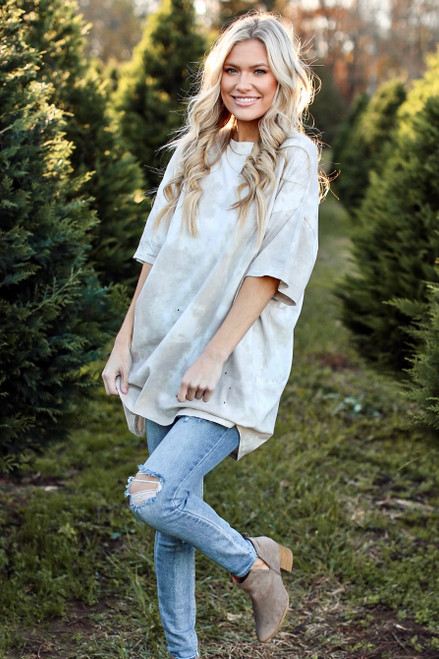 Taupe - Dress Up model wearing a Tie-Dye Distressed Boyfriend Tee with jeans