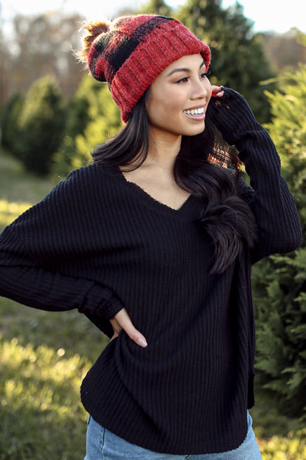 Black - Waffle Knit Top