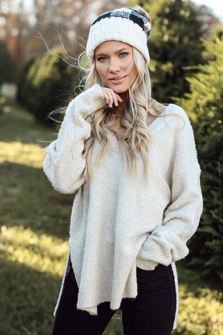 Ivory - Fuzzy Knit Sweater