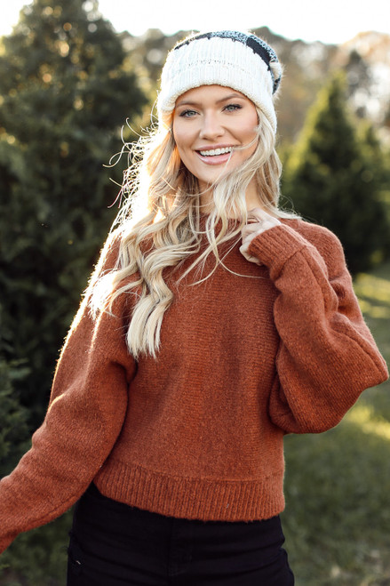 Camel - Brushed Knit Sweater