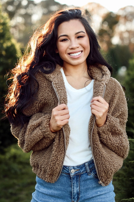 Mocha - Cropped Sherpa Jacket
