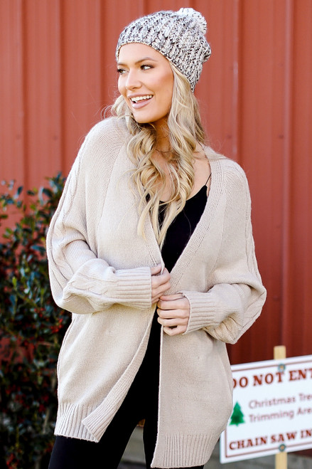 Taupe - Cable Knit Sweater Cardigan