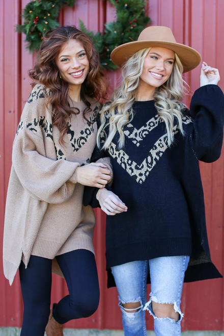 Black - Oversized Leopard Sweater Tunic
