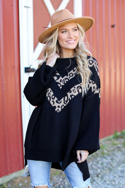 Black - Oversized Leopard Sweater Tunic Front View
