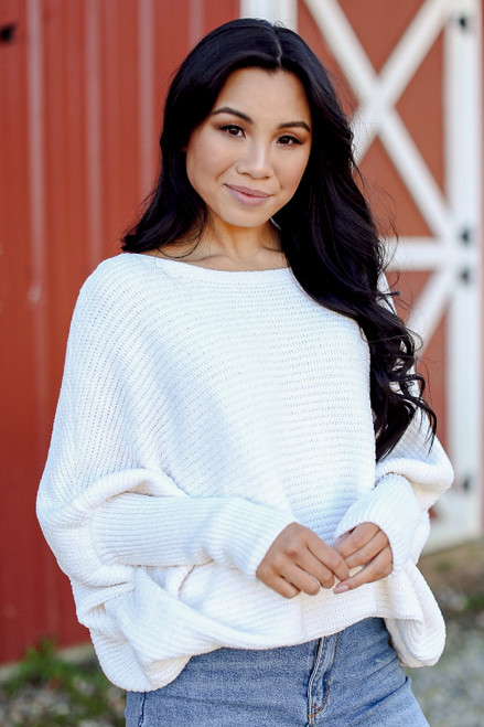 White - Oversized Chenille Sweater