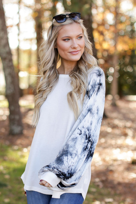 Black - Oversized Tie-Dye Waffle Knit Top from Dress Up