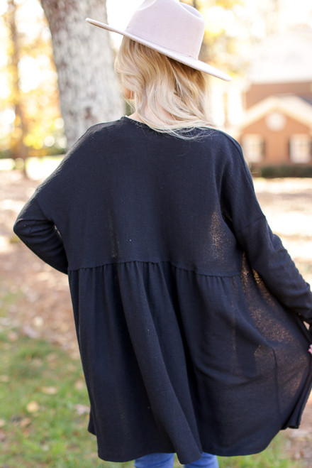 Black - Babydoll Cardigan Back View