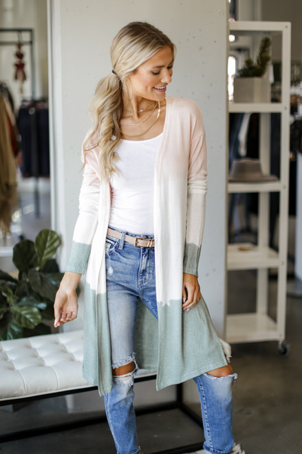 Blush - Brushed Knit Color Block Cardigan from Dress Up