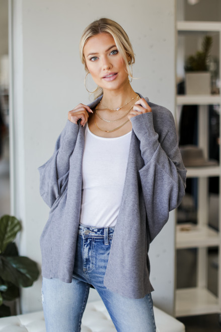 Denim - Dress Up model wearing a Soft Knit Cardigan with a bodysuit