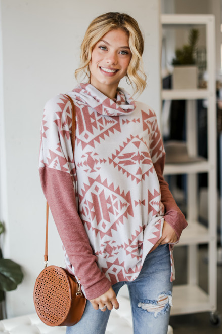 Marsala - Model wearing an Oversized Brushed Knit Aztec Sweater