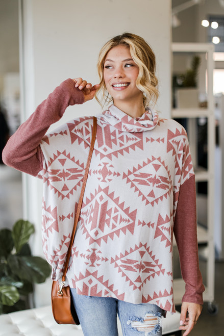 Marsala - Dress Up Model wearing an Oversized Brushed Knit Aztec Sweater