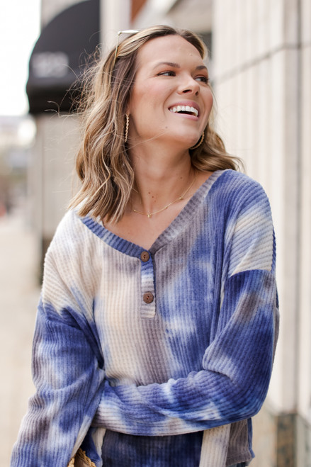 Grey - Tie-Dye Brushed Waffle Knit Top