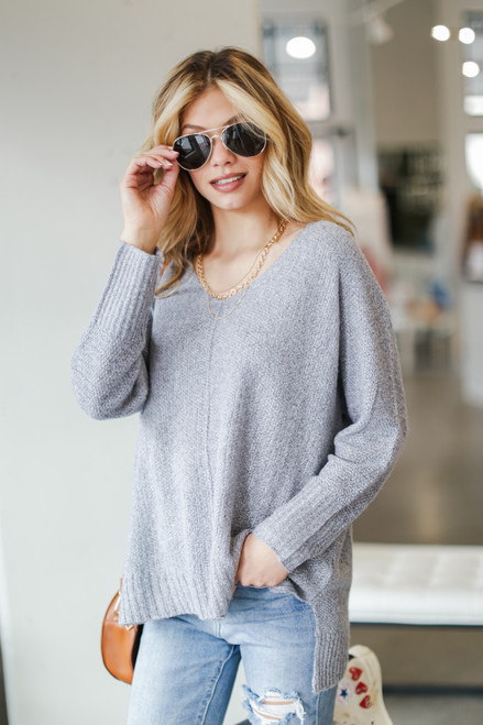 Heather Grey - Model wearing an Oversized Knit Sweater