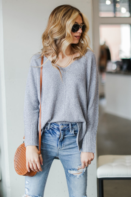 Heather Grey - Dress Up model wearing an Oversized Knit Sweater