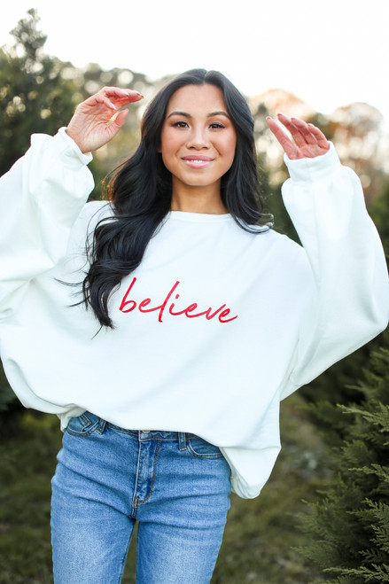 White - Believe Oversized Pullover from Dress Up