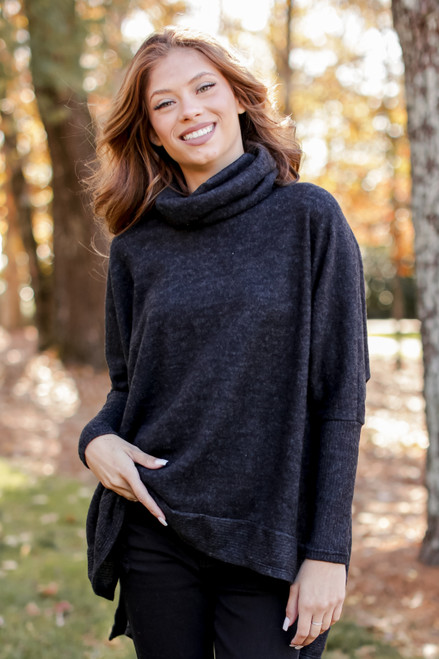 Charcoal - Brushed Knit Cowl Neck Tunic