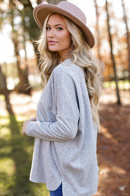 Heather Grey - Oversized Velvet Sweater Side View