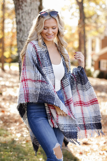 Multi - Plaid Fringe Shawl from Dress Up