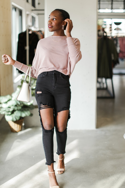 Black - Distressed Skinny Jeans from Dress Up