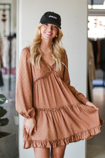 Taupe - Model wearing a Swiss Dot Tiered Babydoll Dress with sneakers