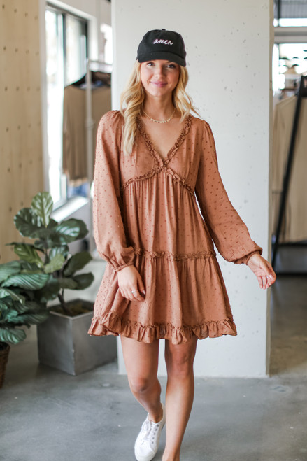 Taupe - Dress Up model wearing a Swiss Dot Tiered Babydoll Dress with sneakers