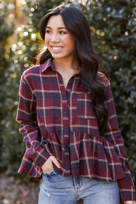 Burgundy - Plaid Babydoll Blouse